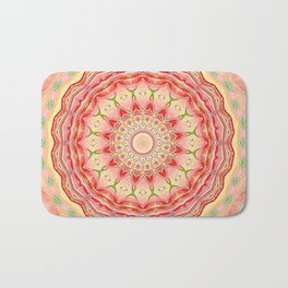 Mandala Tequila Sunrise -- Kaleidoscope of Vibrant Sunny Colors Bath Mat