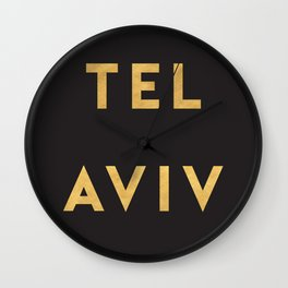 TEL AVIV ISRAEL GOLD CITY TYPOGRAPHY Wall Clock
