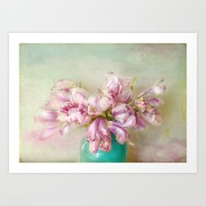 bouquet tulips in blue vase Art Print