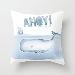 Ahoy! from a Sperm Whale Throw Pillow