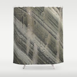 Gray striped abstract painting Shower Curtain