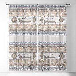 Boho dogs | Smooth dachshund tan Sheer Curtain