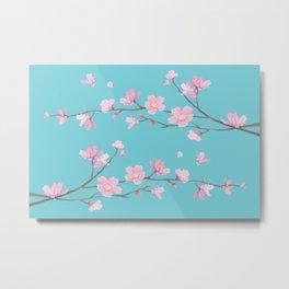 Cherry Blossom - Robin Egg Blue Metal Print