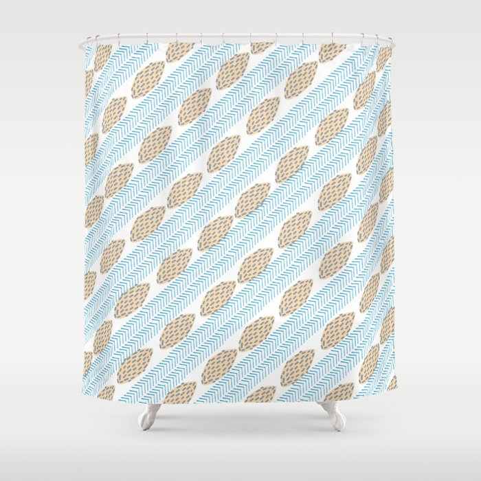 Blue Brown Watercolor Brushstrokes Leaves Chevron Shower Curtain By Pink Water