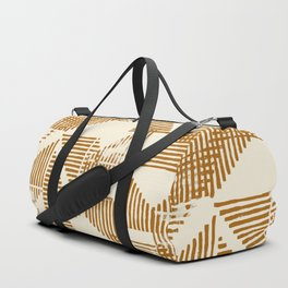 Stripe Triangle Block Print Geometric Pattern in Orange Duffle Bag
