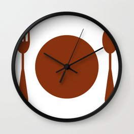 plate with cutlery Wall Clock