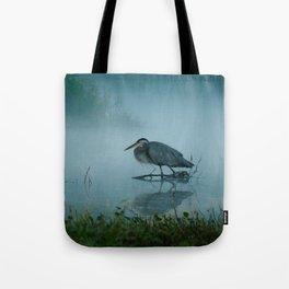 Blue Heron Misty Morning Tote Bag