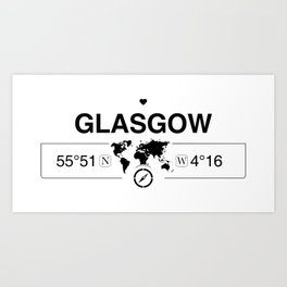 Glasgow Scotland GPS Coordinates Map Artwork with Compass Art Print