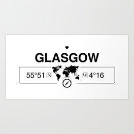 Glasgow Scotland GPS Coordinates Map Artwork with Compass Art Print