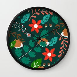 Hedgehogs, flowers and leaves Wall Clock