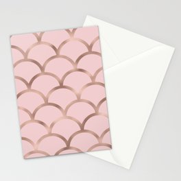 Rose gold mermaid scales Stationery Cards
