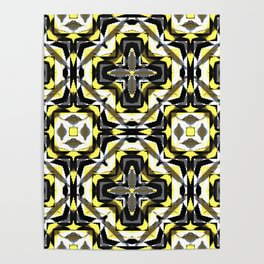 black yellow gray and white geometric Poster