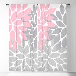 Bold Colorful Pink Grey Dahlia Flower Burst Petals Blackout Curtain