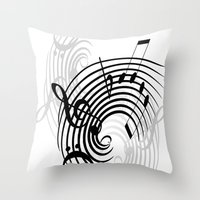 music notes Throw Pillows featuring Music Notes by Svetlana Sewell