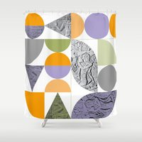 egypt Shower Curtains featuring Geometric Egypt by k8goff