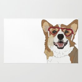 Happy Valentine's Day Corgi Rug