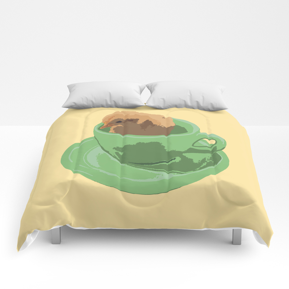 Baby Chick In Jadeite Cup Illustration Comforter by Betweentheblossoms CMF8830669