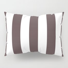 Dark puce purple - solid color - white vertical lines pattern Pillow Sham