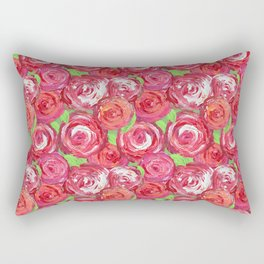 Big Fat Pink Cabbage Roses Rectangular Pillow