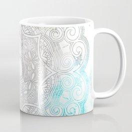 abstract gray and turquoise mandala design in minimal style Coffee Mug