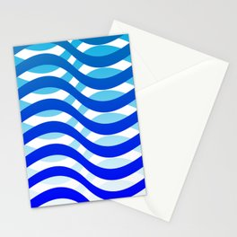 Waving Blue Pattern Stationery Cards