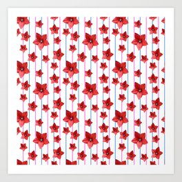 Flowers and Color Lines - Red Art Print
