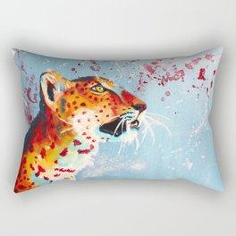 Curiosity, leopard acrylic painting, original animal art Rectangular Pillow
