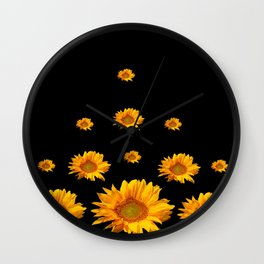 RAINING GOLDEN YELLOW SUNFLOWERS BLACK COLOR Wall Clock
