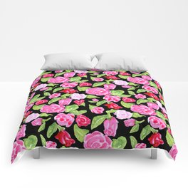 Watercolor Rose Garden black Comforters