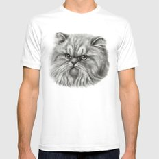 Persian Cat SK072 MEDIUM Mens Fitted Tee White