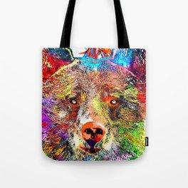Bear Watercolor Grunge Tote Bag