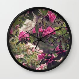 Pink and Green Rhododendrons Wall Clock