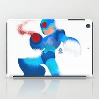 megaman iPad Cases featuring Megaman Minimalist splash poster by LoweakGraph