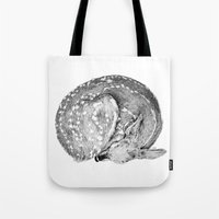 bambi Tote Bags featuring Bambi by Cheyenne illustration