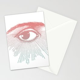 I See You. Pink Turquoise Gradient Sunburst Stationery Cards