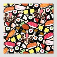 sushi Canvas Prints featuring Sushi! by thickblackoutline