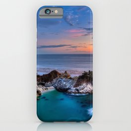 Picture California USA Julia Pfeiffer Burns State Park, Big Sur, McWay Falls, Pacific Ocean Nature Sky Scenery sunrise and sunset Coast Sunrises and sunsets landscape photography iPhone Case