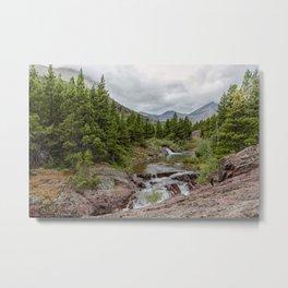 Upper Redrock Falls - Glacier NP Metal Print