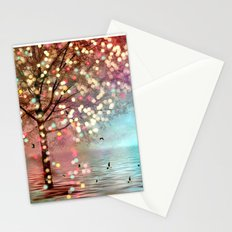 Surreal Fantasy Fairy Tale Aqua Pink Sparkling Fairylights Nature Trees Stationery Cards