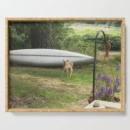 Curious Spotted Fawn Serving Tray