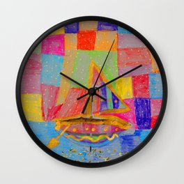 When an umbrella transforms into a boat on Christmas night Wall Clock