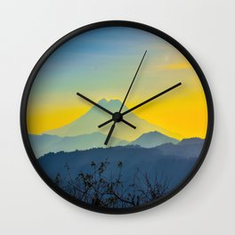 Mid Century Modern Round Circle Photo Yellow Blue Mount Fuji Sunset Watercolor Effect Landscape Wall Clock