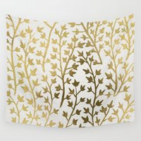 leopard Wall Tapestries featuring Gold Ivy by Cat Coquillette