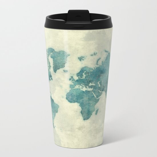 World Map Blue Vintage Metal Travel Mug