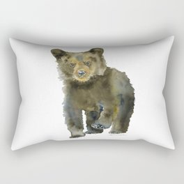 Black Bear Cub Watercolor Rectangular Pillow