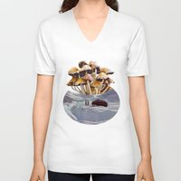psychadelic V-neck T-shirts featuring Alice in Wonderland by Blaz Rojs