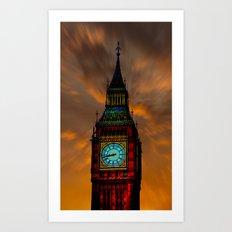 Big Ben Digital Sunset Art Print