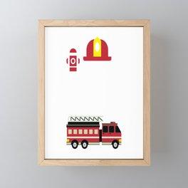 Firefighter Kid I´m 4 Birthday Gift For Boys Girl And Kids Framed Mini Art Print