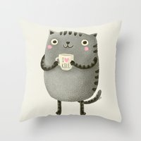 text Throw Pillows featuring I♥kill (brown) by Lime