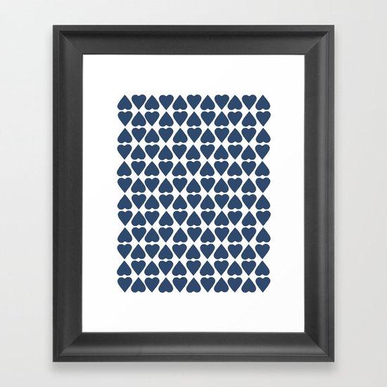 Diamond Hearts Repeat Navy Framed Art Print